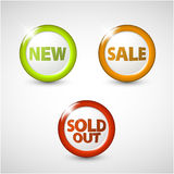 Vector round 3D icons for sale, new, sold Stock Image