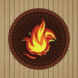 Vector round badge with fire icon Stock Photos