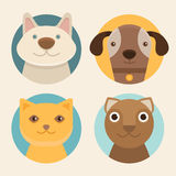 Vector round badges with cats and dogs Royalty Free Stock Images
