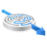 Vector Round Blue Solved 3D Maze. A 3D rounded, thick walled Maze, solved by a red line ending with an Arrow Royalty Free Stock Photography