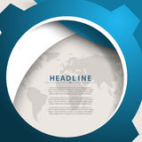 Vector round blue world map elements frame corporate business background Royalty Free Stock Image
