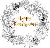 Vector round border greeting card for Thanksgiving. Autumn leaves - oak, maple, chestnut. Stock Photo