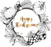 Vector round border greeting card for Thanksgiving. Hand drawn vintage engraved illustration. Stock Photography
