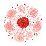Vector round bouquet with outline Aster flower, ornate foliage and bud in pastel pink and red colored isolated on white background Vector Illustration