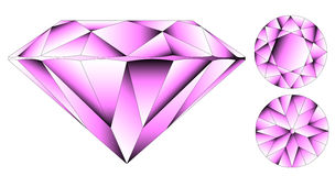 Vector round brilliant cut diamond. Perspective Royalty Free Stock Image