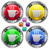 Vector round button with coffee or tea cup icon. Vector set of round colorful buttons with coffee or tea cup icon on colorful backgrounds Stock Photo