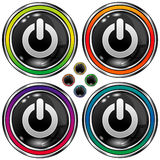 Vector round button with computer power icon. Vector set of round colorful buttons with computer power icon on black background Stock Photos