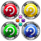 Vector round button with computer refresh icon. Vector set of round colorful buttons with computer refresh icon on colorful backgrounds Royalty Free Stock Images