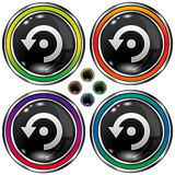 Vector round button with computer refresh icon. Vector set of round colorful buttons with computer refresh icon on black background Royalty Free Stock Photography