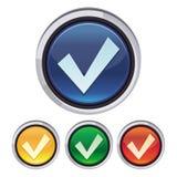 Vector round button with tick sign Stock Photos