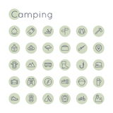Vector Round Camping Icons Royalty Free Stock Images
