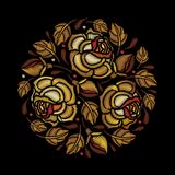 Vector round composition of embroidery golden Rose flower, bud and leaves isolated on black background. Floral embroidery. Royalty Free Stock Photos