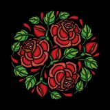 Vector round composition of embroidery red Rose flower, bud and green leaves isolated on black background. Floral emroidery. Vector round composition of Stock Photography