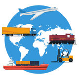 Vector round concept logistics transportation Royalty Free Stock Photo