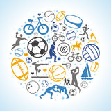 Vector round concept with sport icons and signs Royalty Free Stock Images