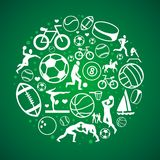 Vector round concept with sport icons and signs Royalty Free Stock Photography