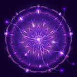 Vector round decorative ornament on cosmic background. Mandala design for card, yoga studio. Abstract medusa. Vector round decorative ornament on cosmic Stock Photos
