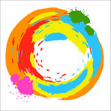 Vector round design element bright colored ink splashes Stock Photography