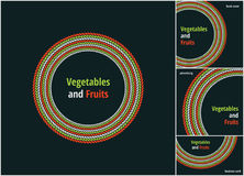 Vector round eco, bio green and red logo or sign. Vegan, vegetarian, healthy food badge, tag, restaurants Stock Photos