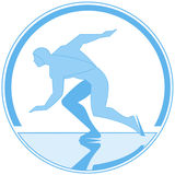 Vector round emblem running skater. Vector round-color emblem running skating athlete Royalty Free Stock Photo