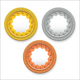 Vector round empty medals of gold silver bronze. It can be used as coins buttons icons. Eps 10 Stock Images
