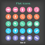 Vector Round Flat Icon Set №2. In Color Variation Stock Image