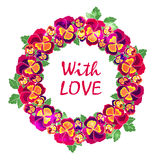 Vector round floral frame with quote  love. Design for wedding invitation, flower shop and beauty salons. Bright pansies Stock Image