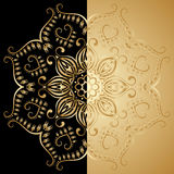 Vector round floral ornament. Vector illustration with vintage lace floral pattern. Gold and black Stock Photo