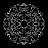Vector round floral pattern with white line on black background. royalty free illustration