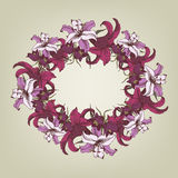 Vector round floral wreath of flowers Lilies and Fritillaria in vintage style. stock illustration