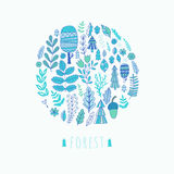 Vector round forest design ,  leaf background. Plants ornament.  Royalty Free Stock Images