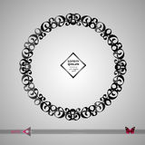 Vector round frame. Abstract graphic element background. Floral, organic wicker Stock Images