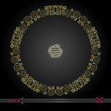 Vector round frame. Abstract graphic element on dark background.  Royalty Free Stock Photography