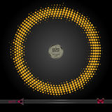 Vector round frame. Abstract half tone graphic element pattern background. Vector round frame. On black. Abstract half tone graphic element pattern background Royalty Free Stock Images