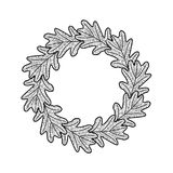 Vector round frame from oak leaves on white background Stock Photos