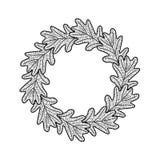 Vector round frame from oak leaves on white background. Vector round frame from black oak leaves on white background Stock Photos