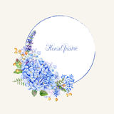 Vector round frame of blue hydrangea and other flowers. Royalty Free Stock Image