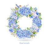 Vector round frame of blue watercolor hydrangea and berries. Stock Photos