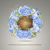 Vector round frame of blue watercolor hydrangea and berries on w Royalty Free Stock Photo
