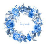 Vector round frame of blue watercolor roses and berries. Royalty Free Stock Image