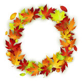 Vector round frame with colorful autumn leaves Stock Photo