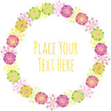 Vector round frame of colorful flowers stock illustration