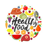 Vector round frame from foodftuffs. Healthy food. Flat. Fresh product. Natural organic . World Health Day. Lettering Royalty Free Stock Photos
