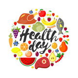Vector round frame from foodftuffs. Healthy food. Flat. Fresh product. Natural organic . World Health Day. Lettering. Health day. Vector round frame from Stock Images