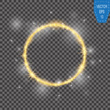 Vector round frame. Gold glittering star dust circles. Shining circle banner on checkered background. Vector Stock Photography