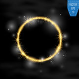 Vector round frame. Gold glittering star dust circles. Shining circle banner on dark background. Vector illustration Stock Photos