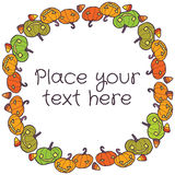Vector round frame with halloween pumpkins Stock Photos