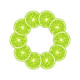 Vector round frame of lime slice. Citrus frame with copy sp Stock Photo