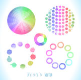 Vector round frame made of watercolor rainbow blobs Royalty Free Stock Photos