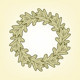 Vector round frame from oak leaves. Vector round frame from graphic oak leaves Royalty Free Stock Photography